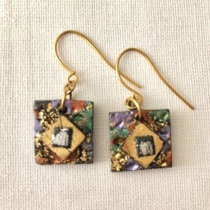 Vintage square multi media earrings